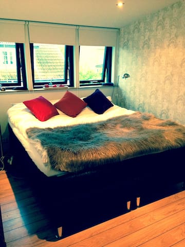 Double room. An exclusive Jensen bed with mattress hardness depending on body weight. 300 extra charge per night for 2 persons.