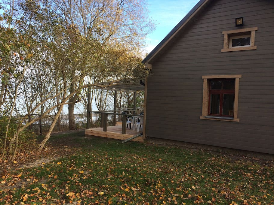 Side view of cottage and deck