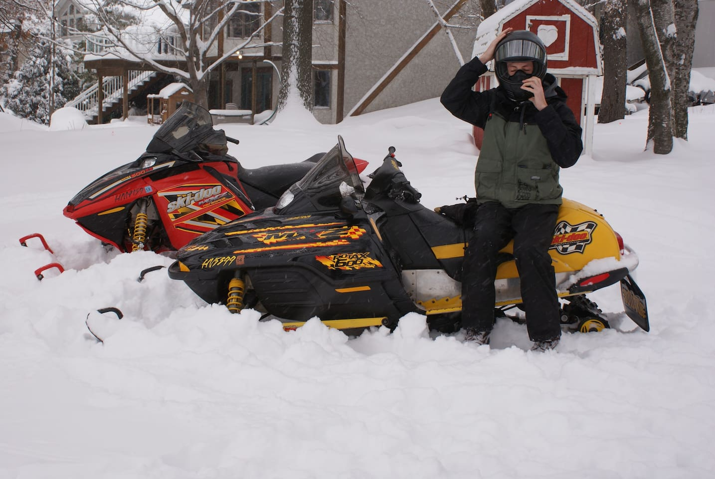 Snowmobiles and ATV for you to use.  Also cross country skis, sleds, snowshoes, skates, sticks, and ice fishing shack.
