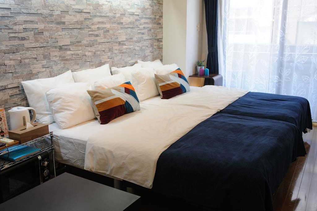 2 double size bed with comfortable linen