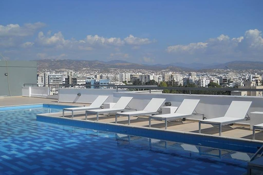 Amazing rooftop swimming pool with 360 view over Mediterranean and Limassol