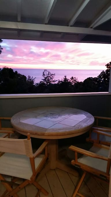 Watch the colorful sunset every evening from your private porch.