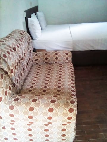 Large bright and sunny room with original wood flooring, ensuite toilet/Shower, desk, drawer, table chair and sofa, coffee table.