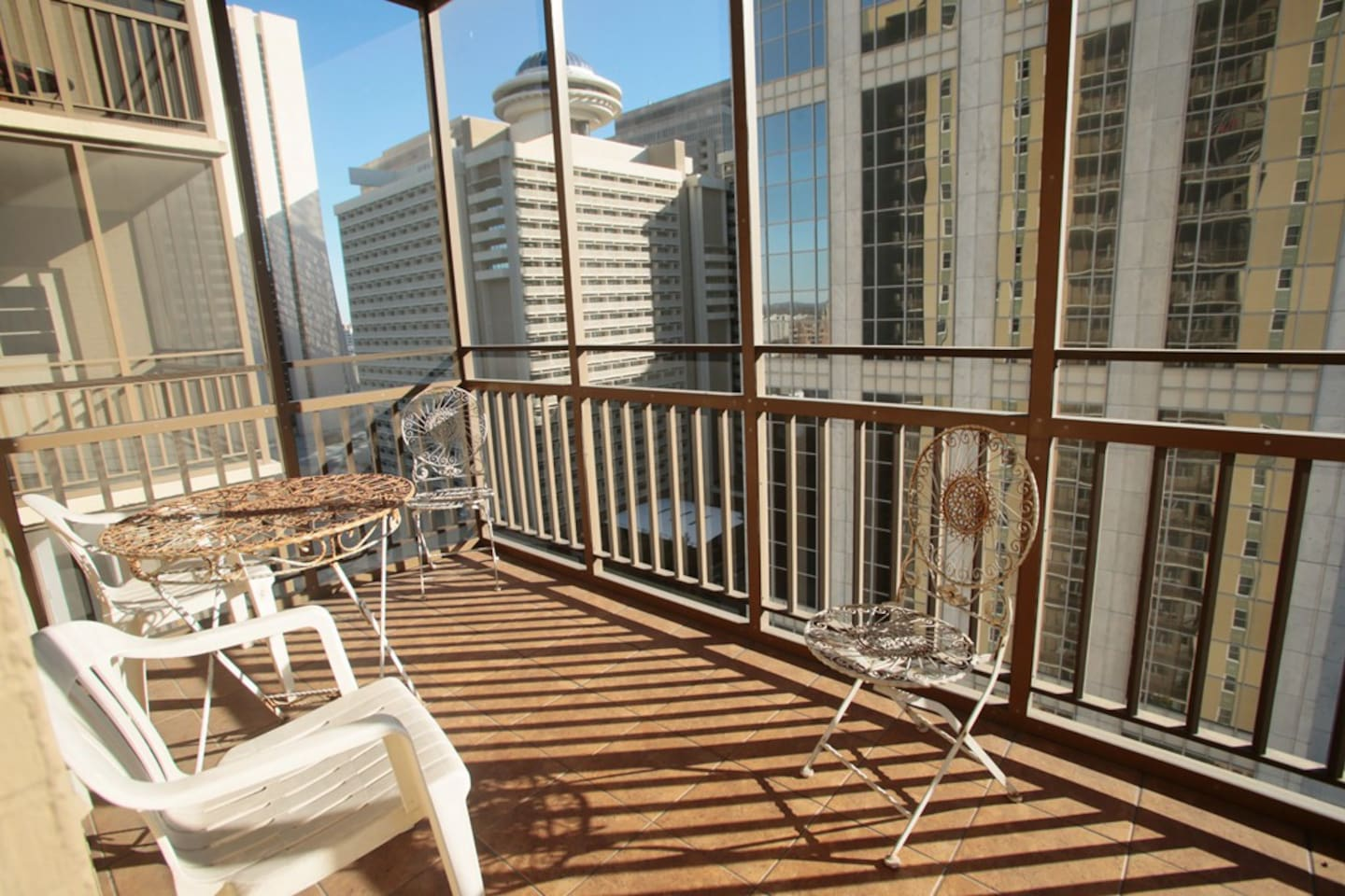 Balcony with great city view