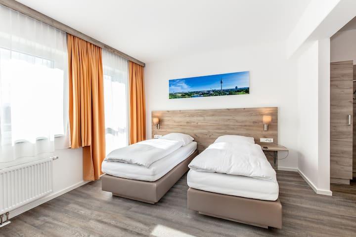 Die Betten können zusammen oder getrennt gestellt werden.