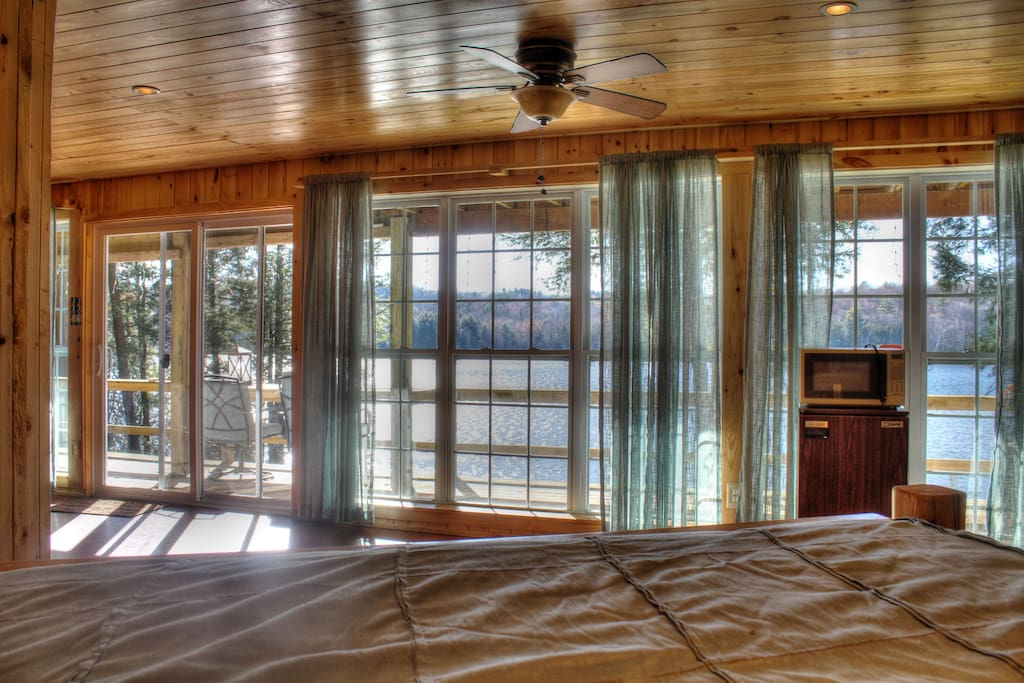 Imagine waking up to this view... the king sized bed in the basement has a spectacular view of the lake.
