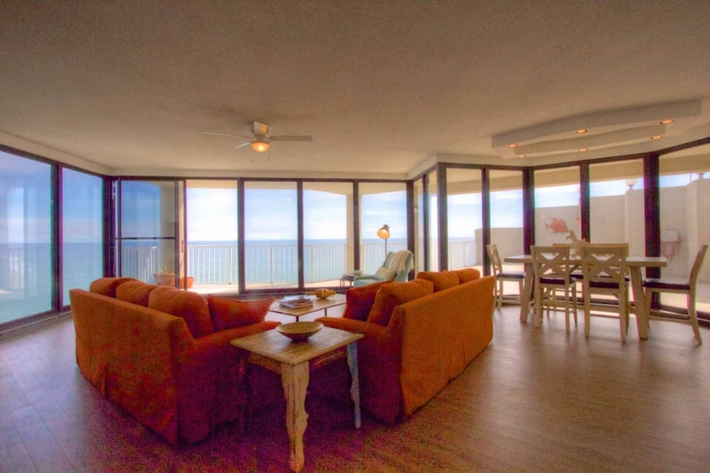 Three walls of floor to ceiling glass to enjoy the spectacular beach and ocean view