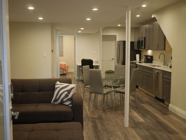Newly renovated basement 1 bed apt with W/D