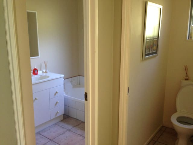 Your own bathroom with shower and bath, for your exclusive use during your stay