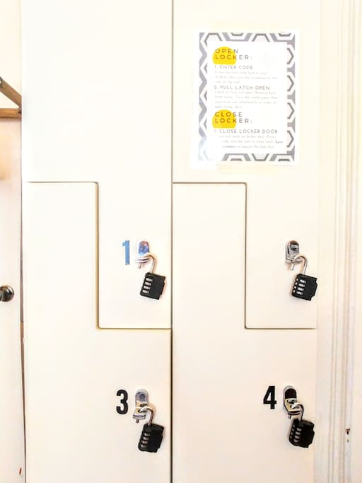 Lockers and locks are provided for your use.