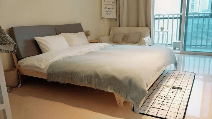 暖宿「HOME一米」100米达道地铁口48㎡整套房源|乳胶床|步行上下杭|采光好