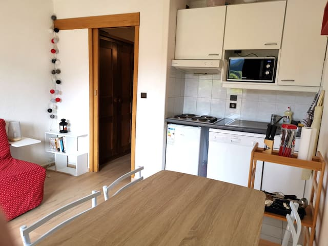 Séjour avec cuisine équipée (frigo, plaque, micro ondes, lave vaisselle et cafetière Tassimo)