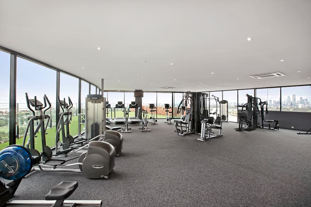 Fully equipped gym with stunning views