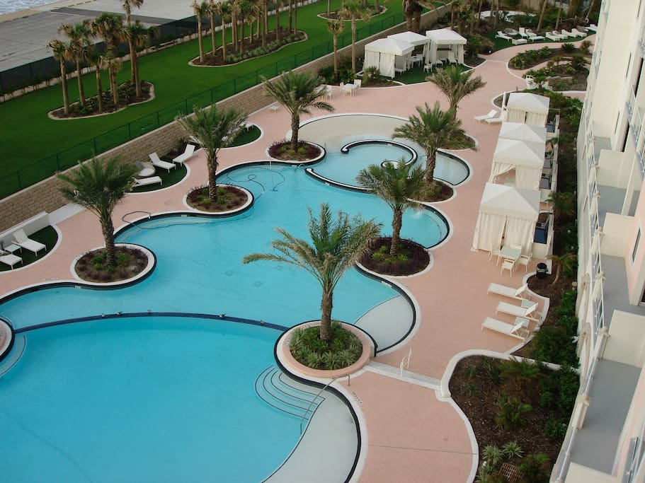 View of the pool from balcony