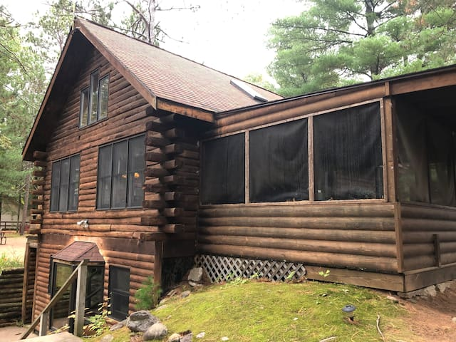 Cabin on Lower EC lake and Snowmobile trail.