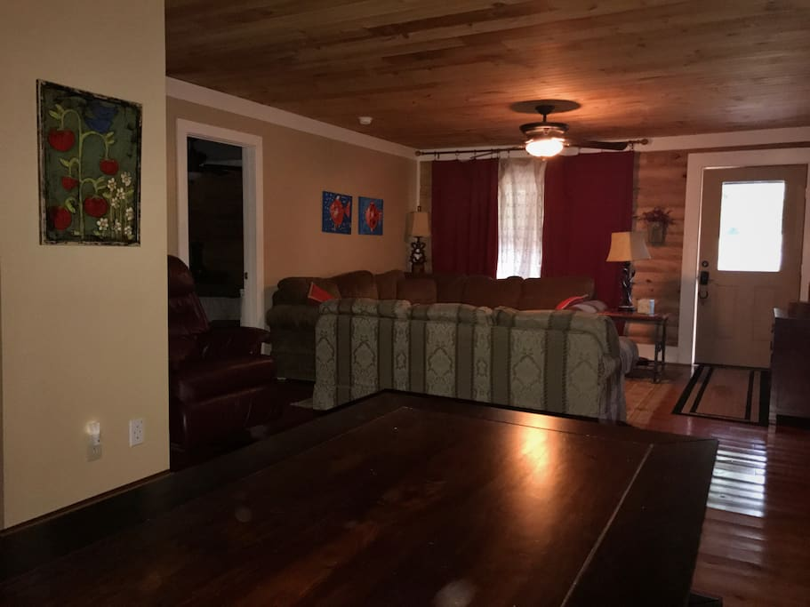 Living Room/Dining Room  - open area, ceiling fan and TV with Direct TV