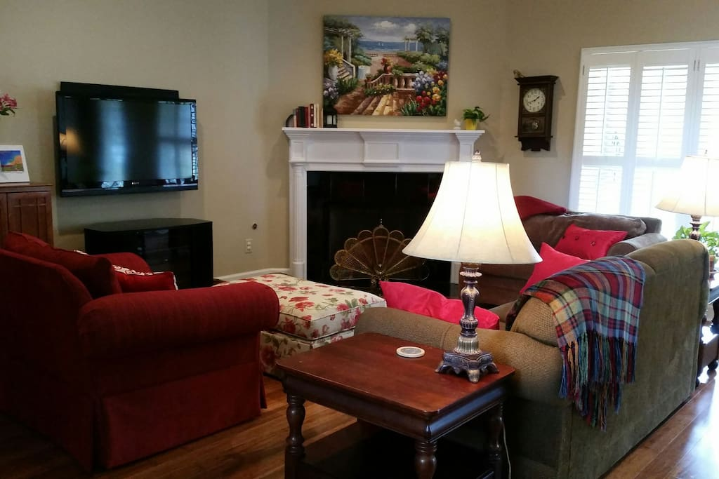 Comfy den with satellite tv, dvd/blu-ray, & gas log fireplace