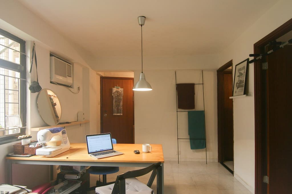 Living room, working desk, entrance space