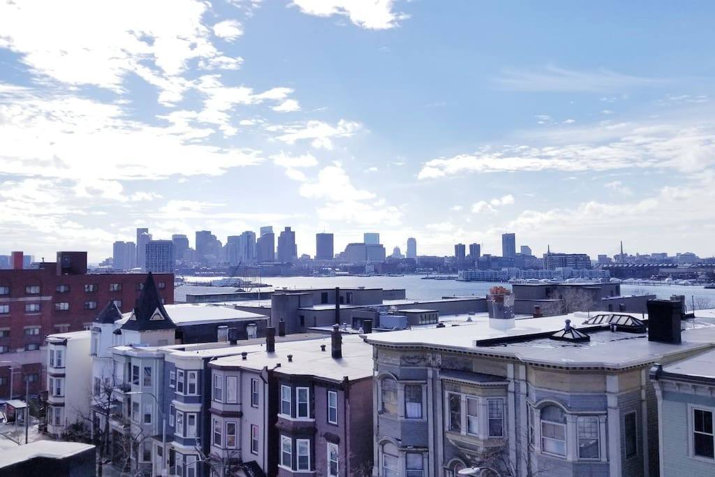Amazing view of Boston Harbor and North End.