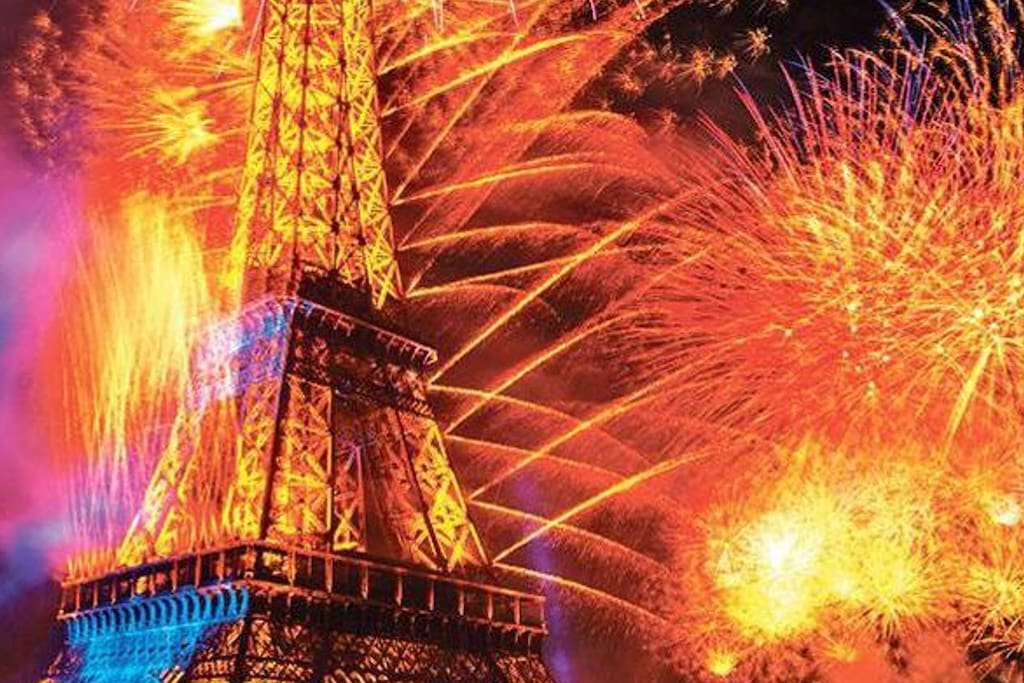 Last year Bastille Day fireworks, picture taken by David, one of our guests (Tks David !)