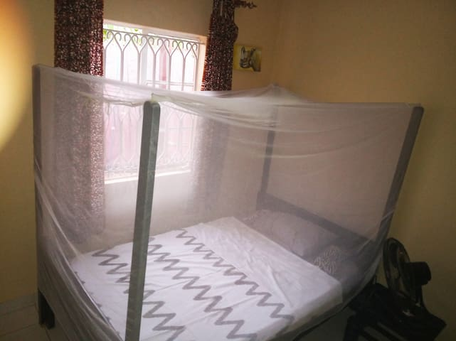 Private bedroom  bed 4ft by 6ft with musquito net  Big closet