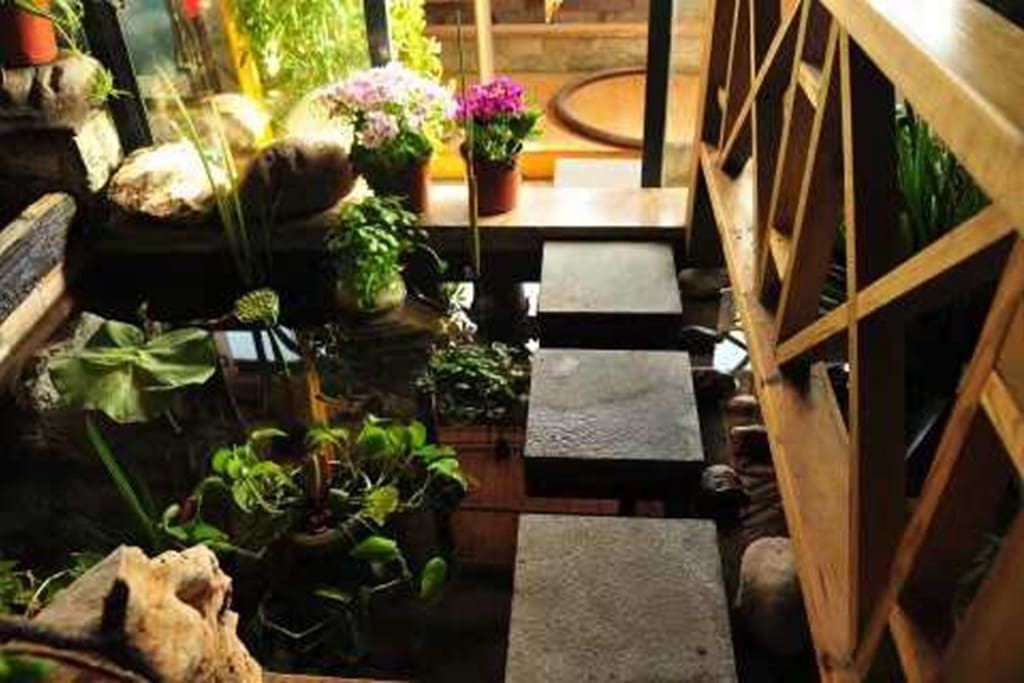 客厅贯通阳台的假山鱼池、小桥流水,是家居装潢中难得的庭院深深。