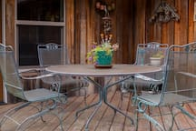 Common space on the deck provides a beautiful view of wooded landscape and pasture that is a migratory circuit of local Roosevelt Elk.
