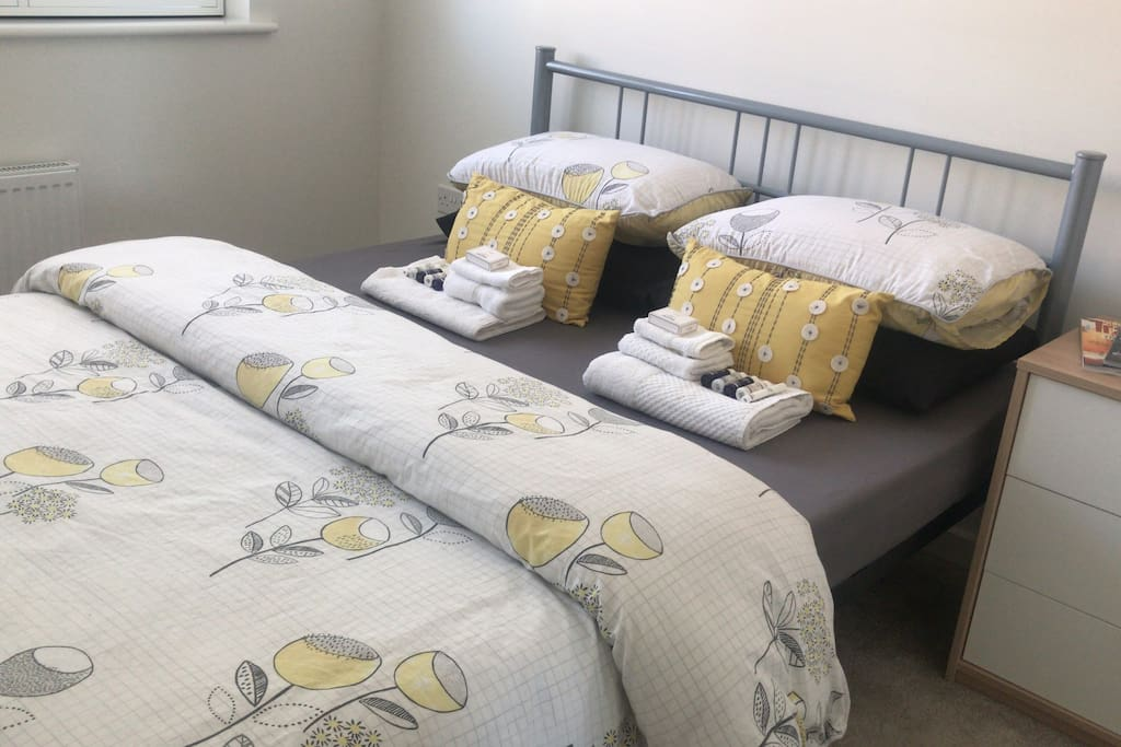 King size Bed - with memory foam mattress. Towels provided for use aswell as a small selection of toiletries