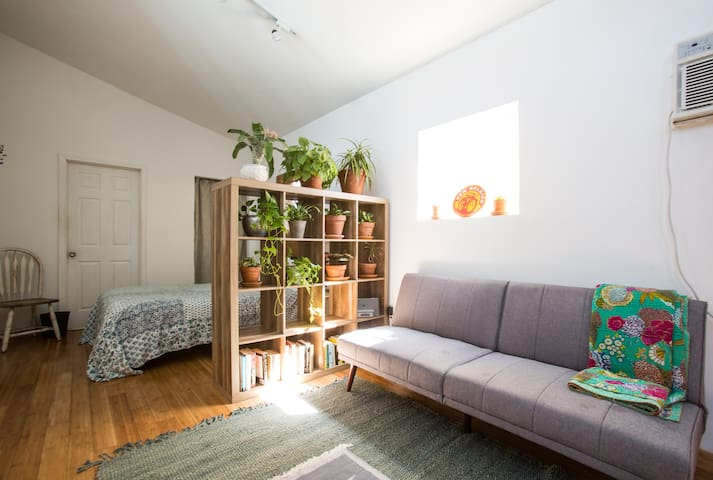 The sunny bedroom and living areas.