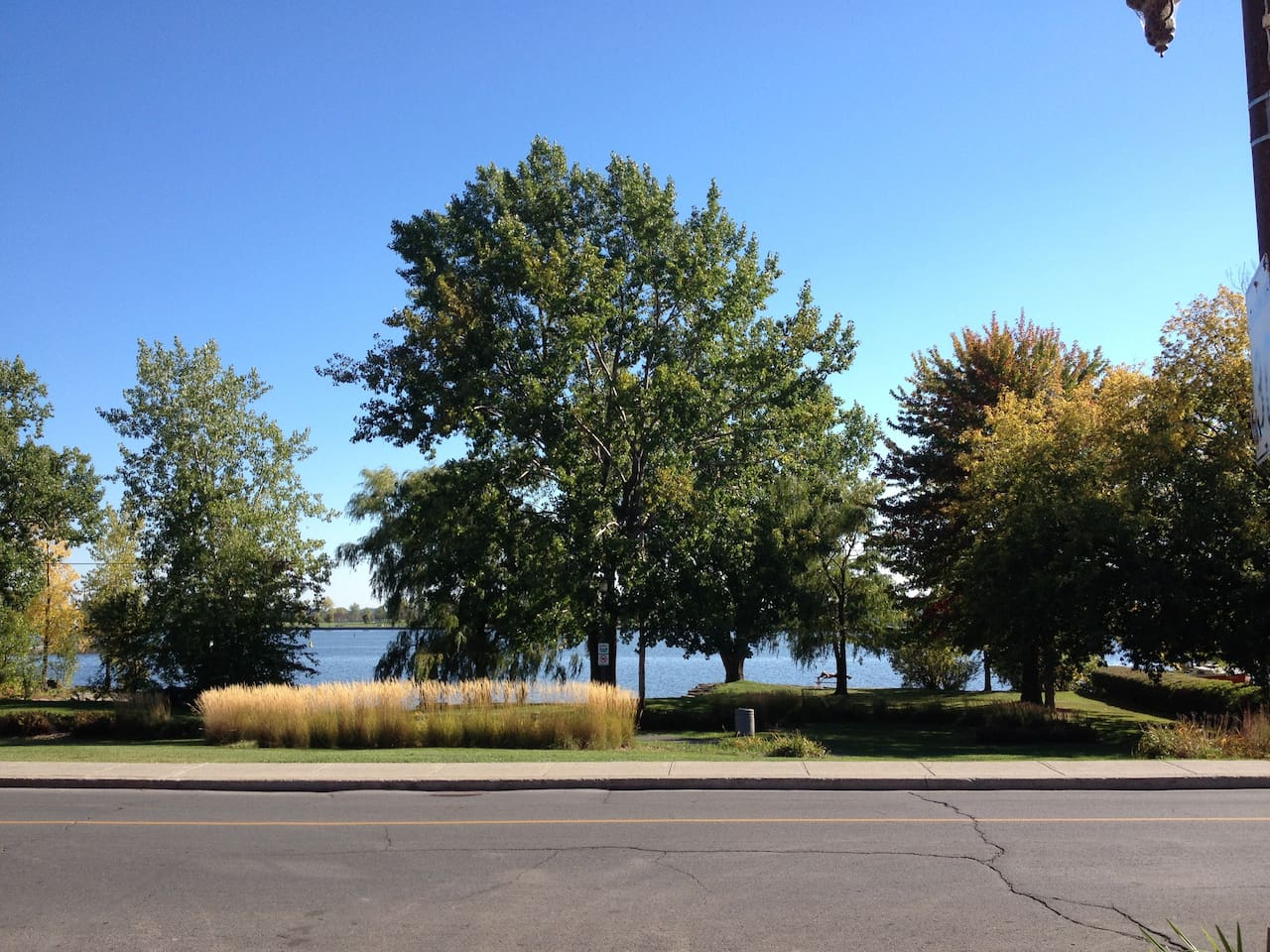 just outside!!! the lachine canal becomes the st-louis lake. bike paths, restaurants...