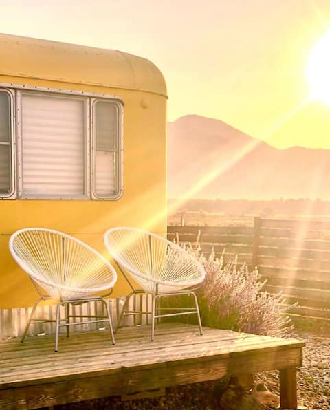 Cozy Mid Century Boho Trailer Mountain Views