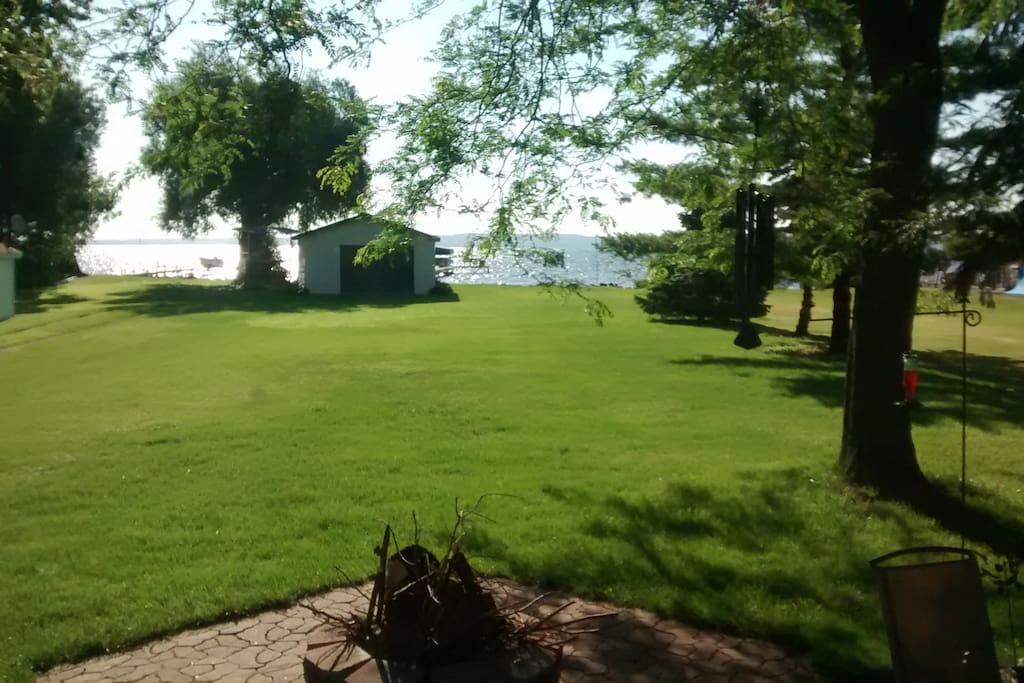 Large front yard for yard games