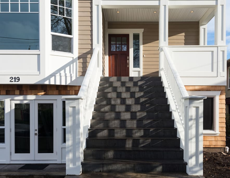Stairs leading to front door