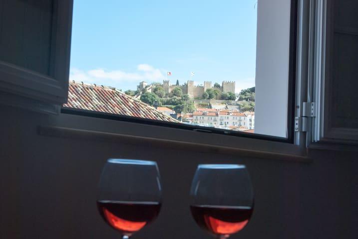 Enjoying the castle view