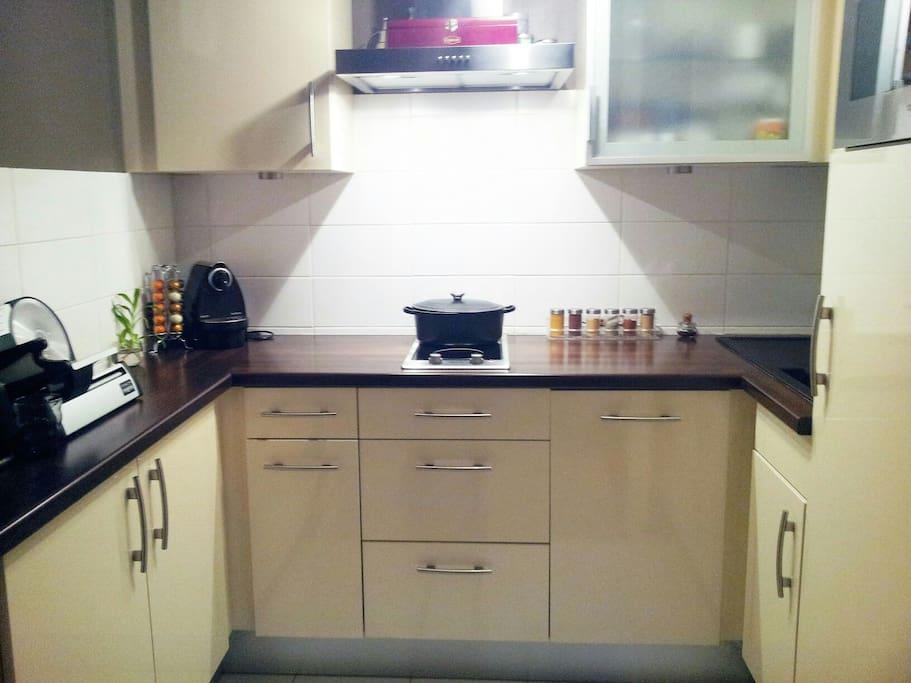 Cuisine équipée. Four micro-ondes, vapeur, grill. Réfrigérateur-congélateur. Cafetière.