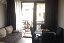 Гостиная совмещенная с кухней. Раздвижной диван на 2-х человек + обеденный стол.