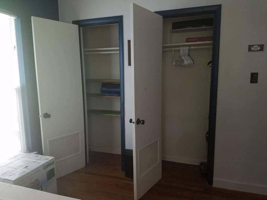 Double closet space! Comes with hangers and shelves. You will find towels in here upon check-in.