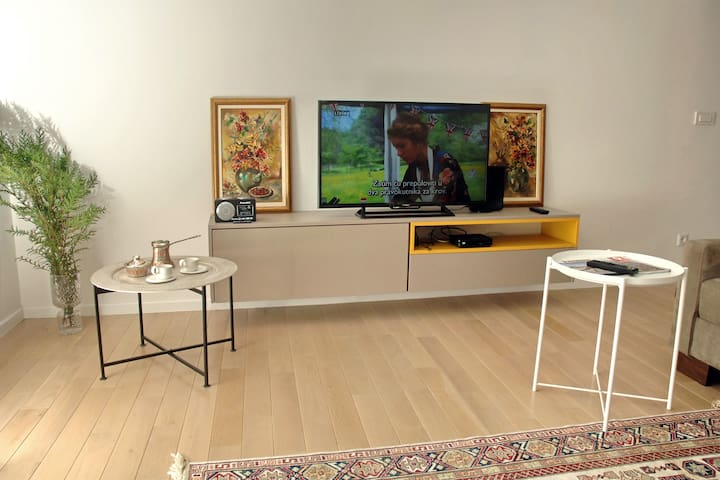A newly furnished TV set with HDMI ports & fast WiFi