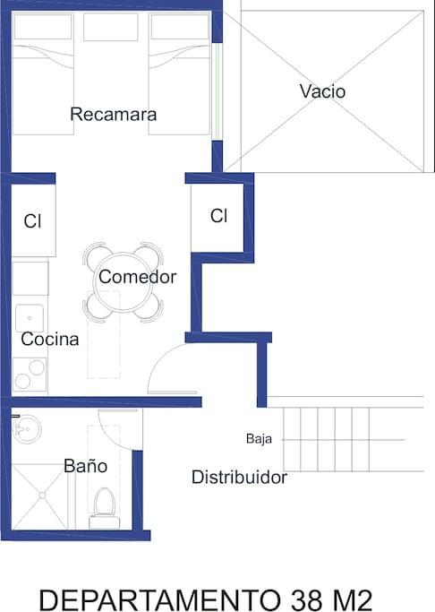 RECAMARA CON COCINETA 38M2