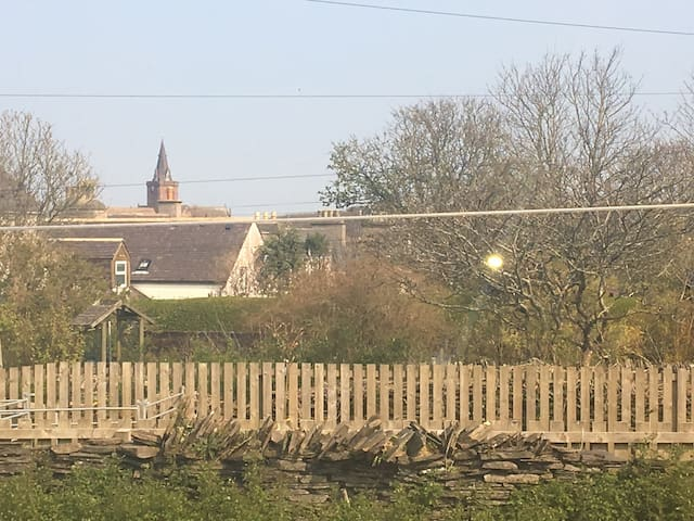 View of St Magnus Cathedral from kitchen window.