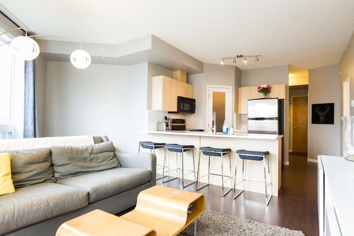 STEPS FROM ROGERS PLACE Downtown two-bedroom condo