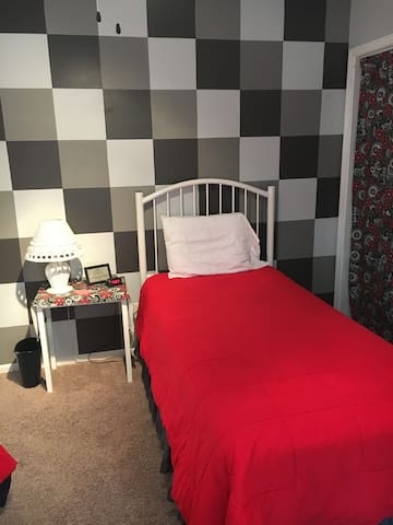 Twin Bedroom-Black & White & Red