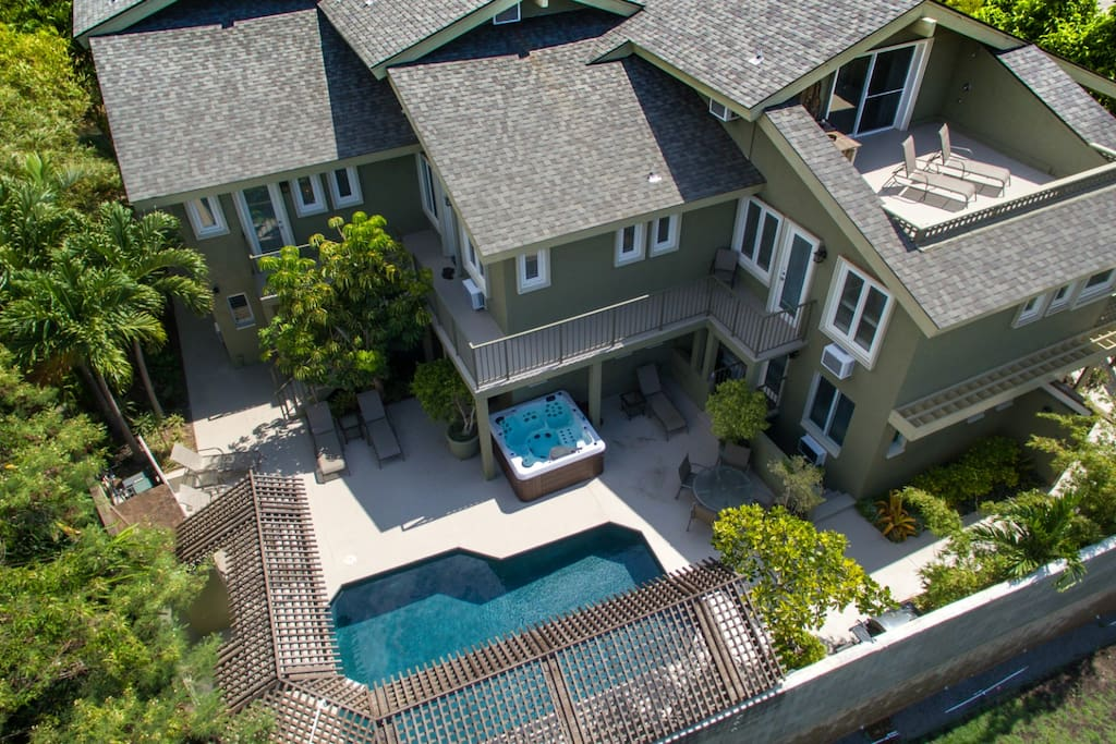 Aerial view over the heated pool and jacuzzi