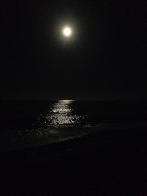 Moonrise over the sea just a minute from our home