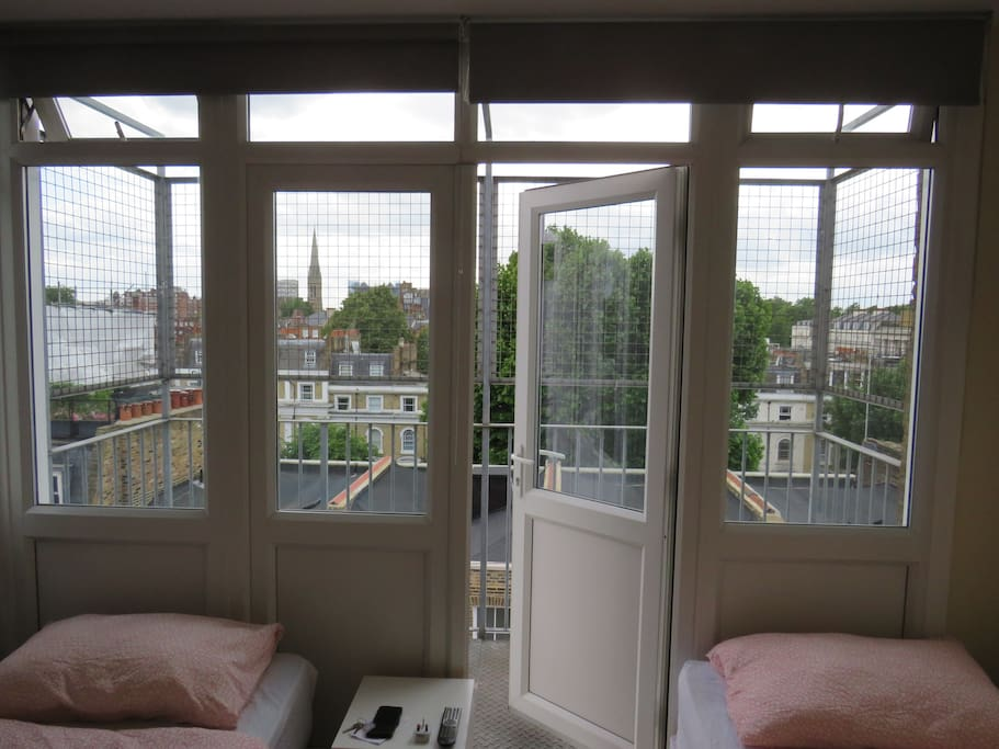 The Rear Windows, and the Balcony in the Studio Flat