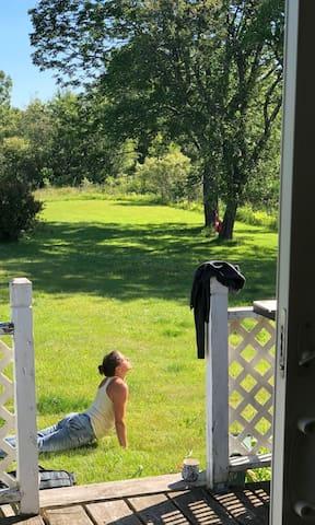 Yoga in the back yard