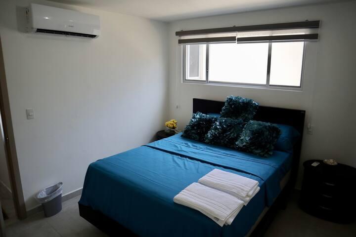 Queen Size mattress in the master bedroom.