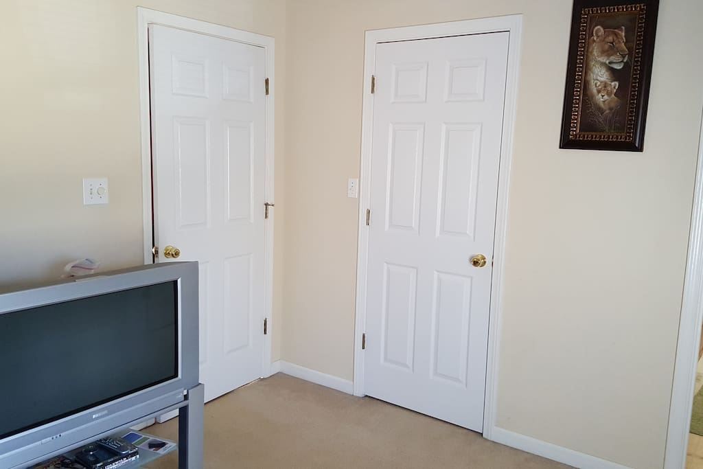 Closet space, television and private access