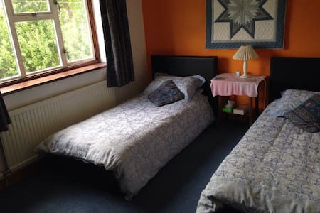 Twin bed room overlooking garden - Malmesbury