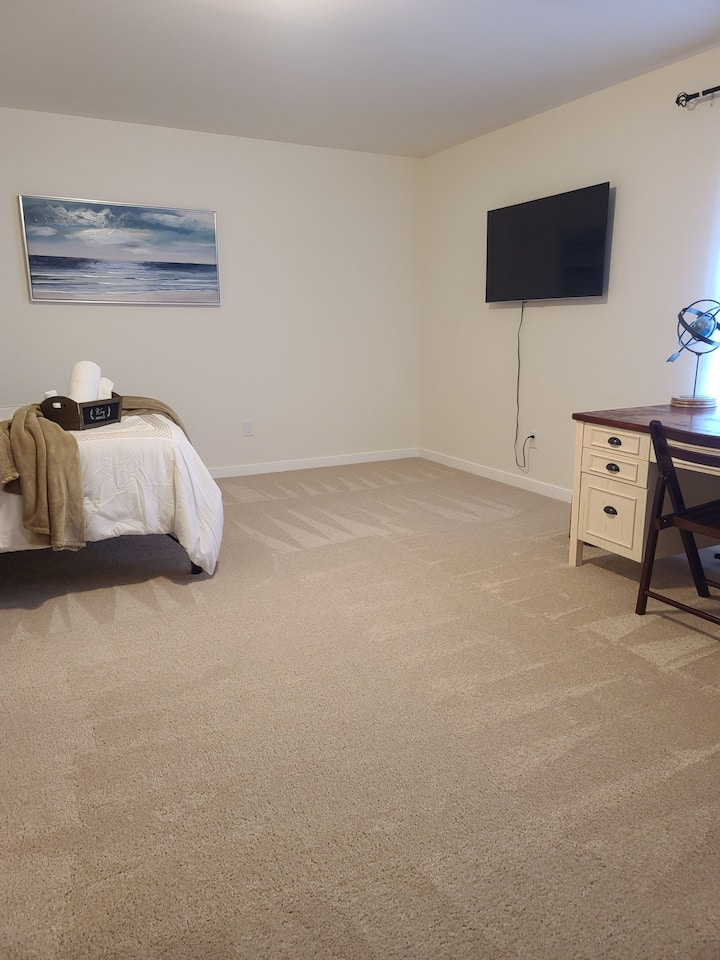 Large student/work room with walk in closet and TV